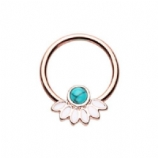 Rose Gold Turquoise Stone and Petals Steel Captive Bead Ring BCR