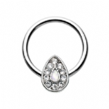 White Opal Crystal Surround Chakra Ball Closure Ring 1.2mm