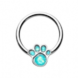Animal Lover Opal Paw Print Ball Closure Ring 1.2mm