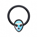 Blackline Alien Face Ball Closure Ring 1.2mm