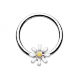 Enamel Daisy Flower Ball Closure Ring 1.2mm