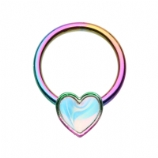 Rainbow Heart Clip In Ball Closure Ring 1.2mm