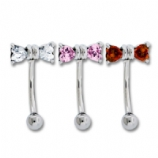 Cute Little Crystal Bow Curved Bar