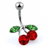 Small Cherry Belly Piercing Bar