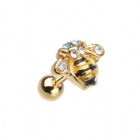 Cute Buzzy Bee Surgical Steel Tragus / Helix Bar - 1.2mm