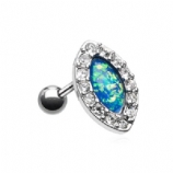 Blue Opal Oval Clear Crystal Surround Tragus Helix Bar