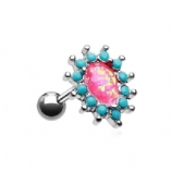 Hot Pink Opal Prong Turquoise Surround Chakra Tragus Helix Bar