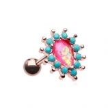 Hot Pink Opal Prong Turquoise Surround Chakra Rose Gold Tragus Helix Bar