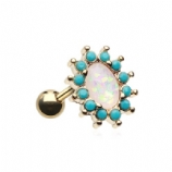 White Opal Oval Prong Turquoise Surround Chakra Gold Tragus Helix Bar