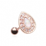 White Opal Crystal Surround Chakra Rose Gold Tragus Helix Bar