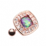 Square Pink Opal Surround Crystal Rose Gold Plated Tragus Helix Bar