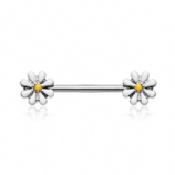Double White Daisy Flower Foward Facing Nipple Bar