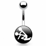 Doggy Style Sex Position Logo Belly Piercing Bar