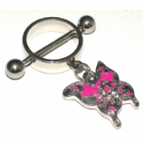 Pink Skull Butterfly Dangle Nipple Rounder Shield & Bar