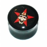 Army Soldier Skull Logo Large Gauge Ear Plug 10mm - 22mm