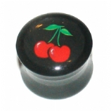 Juicy Red Cherry Logo Large Gauge Ear Plug 12mm - 24mm