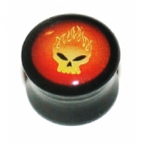 Burning Skull Logo Large Gauge Ear Plug 10mm - 24mm