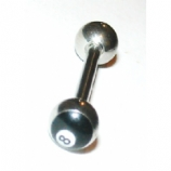 Eight Ball Logo Tongue Piercing Bar