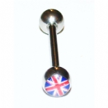 Union Jack Logo Tongue Piercing Bar