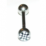 Chequered Logo Ball Tongue Piercing Bar