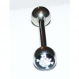 Girlie Skull Logo Ball Tongue Piercing Bar