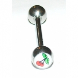 Cherry Logo Ball Tongue Piercing Bar