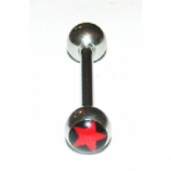 Black & Red Star Logo Ball Tongue Piercing Bar