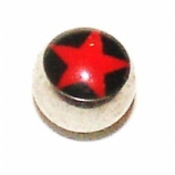 Red & Black Star Logo Ball For 1.6mm Body Bars