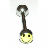 Smiley Face Logo Ball Tongue Piercing Bar