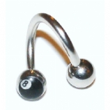 Eight Ball Logo Belly Piercing Spiral