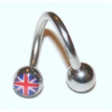 Union Jack Logo Belly Piercing Spiral
