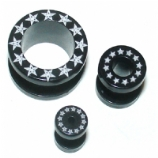 Star Print Black Acrylic Screw On Flesh Tunnel 3mm - 24mm