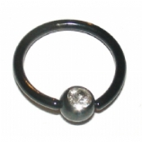 Crystal Gem Black Ball Closure Ring - 1.6mm