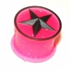 Hot Pink Glitter Black Star Kaos Softwear Silicone Plug 8mm - 19mm