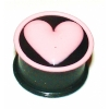 Pink Heart Black Kaos Softwear Silicone Plug 8mm - 12mm