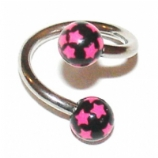 Colourful Star Print Belly Piercing Spiral