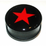 Black & Red Star Mega Ikon Large Gauge Ear Plug 22mm - 30mm