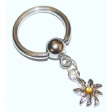 Crystal Hash Leaf Dangle Ball Closure Nipple Ring