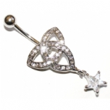 Crystal Triquetra Celtic Knot Belly Piercing Bar