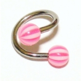 Colourful UV Ball Or Spike Piercing Spiral Ring - 1.2mm