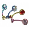 Double Gem Titanium Belly Piercing Bar - 6mm