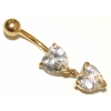 9ct Yellow Gold Crystal Double Heart Dangle Belly Piercing Bar