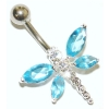 Large Dragonfly Sterling Silver Belly Piercing Bar 8mm - 12mm