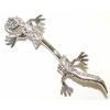 Lizard Gecko Through The Navel Sterling Silver Belly Piercing Bar 8mm - 12mm