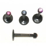 Black Bio-Flex Push Fit Gem Monroe Piercing Lip Stud