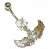 Crystal Studded Large Winged Heart Dangle Belly Piercing Bar
