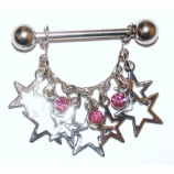 Crystal Spangly Stars Dangle Nipple Bar