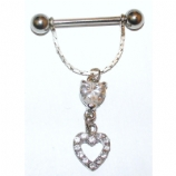 Crystal Diamante Open Heart Dangle Nipple Bar