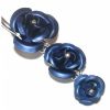 Triple Rose Dangle Sterling Silver Belly Piercing Bar 8mm - 12mm