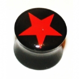 Red Star Black Acrylic Saddle Ear Plug 6mm - 19mm